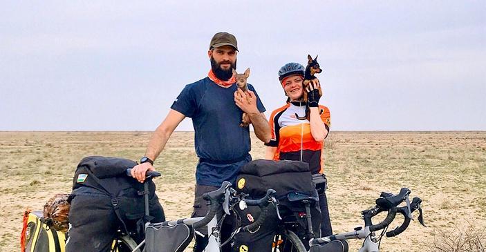 Двое на велосипедах, не считая собак